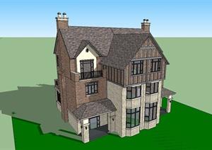 某简约英式风格独栋别墅建筑设计SU(草图大师)模型