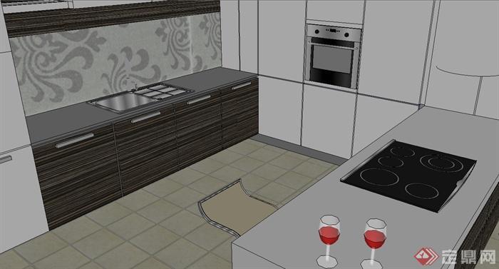 現代風格簡單廚房設計su模型(2)