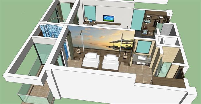 现代风格精品客房小公寓室内设计su模型加渲染效果图