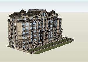美式风格详细多层居住建筑楼设计SU(草图大师)模型