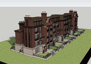 新古典风格多层小区居住楼设计SU(草图大师)模型