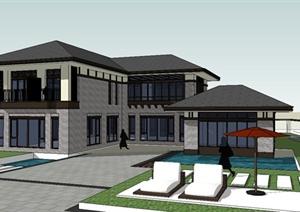 某现代中式风格豪华独栋别墅建筑设计SU(草图大师)模型