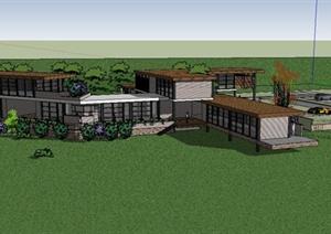 某美式密斯风格会所建筑设计SU(草图大师)模型