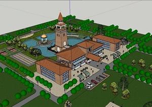 某东南亚风格休闲会所建筑设计SU(草图大师)模型