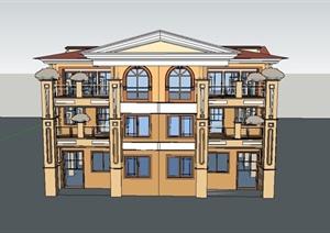 某简约东南亚风格会所建筑设计SU(草图大师)模型