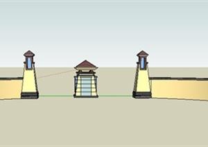 岗亭景墙大门设计SU(草图大师)模型