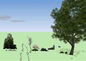 云朵、植物素材SU(草图大师)模型