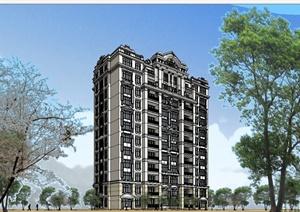 某美式风格小高层居住建筑楼设计SU(草图大师)模型