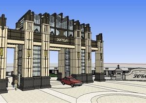新古典风格岗亭、大门、景墙SU(草图大师)模型