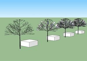 某简单的手绘树木植物SU(草图大师)素材模型