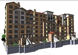 西班牙风格多层住宅建筑及部分景观SU(草图大师)模型