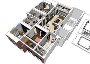 某现代风格精致住宅室内装饰设计SU(草图大师)亿博网络平台