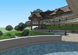 某精致东南亚风格休闲会所建筑设计SU(草图大师)模型