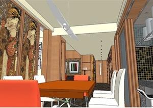 某东南亚风格室内装饰设计SU(草图大师)模型