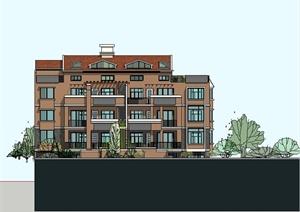 某精美别致欧式风格联排别墅建筑设计SU(草图大师)模型