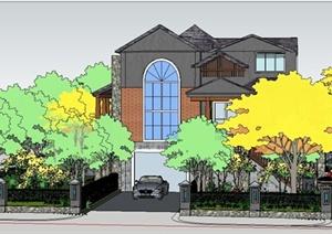 美式古典别墅建筑及庭院设计SU(草图大师)模型