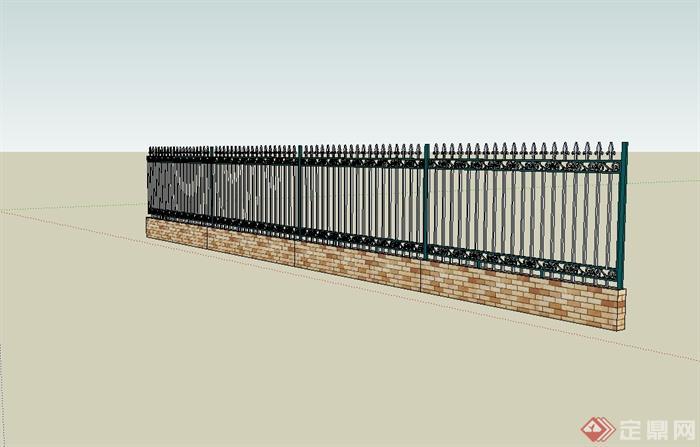 某现代风格小区栏杆围墙设计su模型(2)