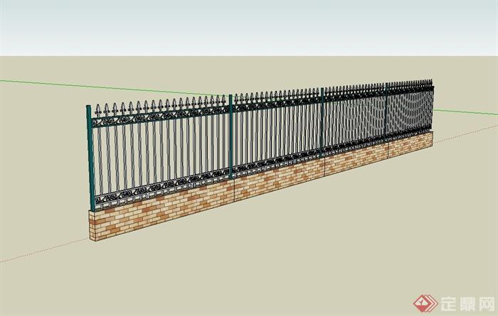 某现代风格小区栏杆围墙设计su模型(3)