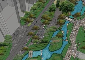 精致现代风格居住小区景观规划设计SU(草图大师)模型
