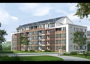 现代多层住宅建筑景观效果图psd格式