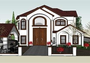 某美式风格别墅建筑及庭院设计SU(草图大师)模型