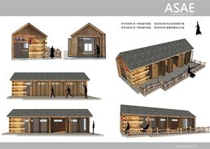某现代中式风格单层茶室建筑设计SU(草图大师)模型