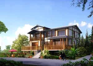 日式风格详细二层别墅建筑设计cad施工图