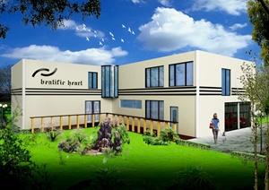 现代风格二层自建别墅建筑设计cad方案