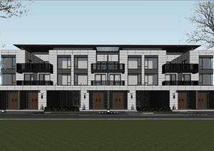 某精致新中式风格联排别墅建筑设计SU(草图大师)模型