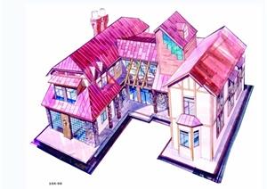 多种不同的商业建筑手绘jpg效果图