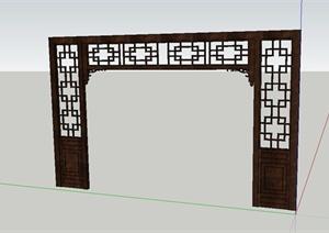 某简约古典中式风格门廊设计SU(草图大师)模型