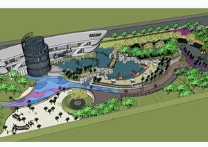 某现代风格度假会所建筑及景观设计SU(草图大师)模型