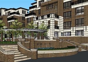 某欧式风格联排别墅住宅区建筑设计SU(草图大师)模型