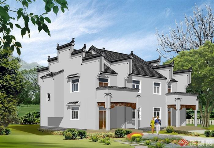 徽派中式别墅建筑方案及效果图(1)