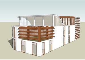 现代简约独栋别墅建筑设计SU(草图大师)模型