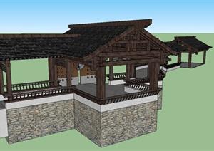 某古典中式风格廊架设计SU(草图大师)模型