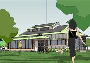 某日式风格独栋别墅住宅建筑设计SU(草图大师)模型