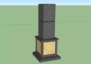 某现代风格详细完整景观柱设计SU(草图大师)模型