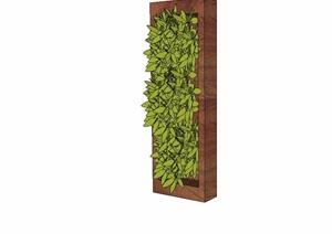 现代风格装饰墙立体绿化设计SU(草图大师)模型