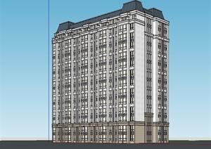 某美式风格详细多层住宅楼建筑设计SU(草图大师)模型