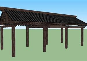 中式景观廊设计SU(草图大师)模型