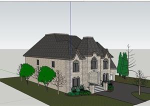 某法式独栋别墅住宅建筑设计SU(草图大师)模型