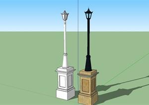 某细致欧式风格路灯设计SU(草图大师)模型