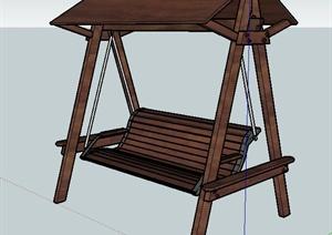 中式木秋千椅单体设计SU(草图大师)模型