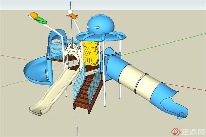 藍白色兒童滑梯組合su模型(1)