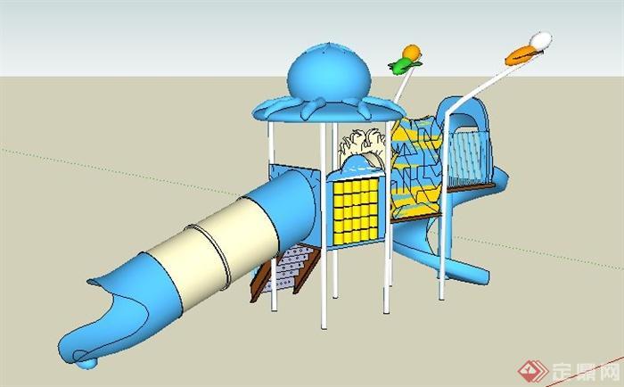 藍白色兒童滑梯組合su模型(2)
