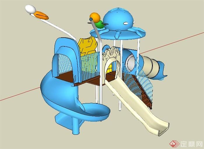 藍白色兒童滑梯組合su模型(3)