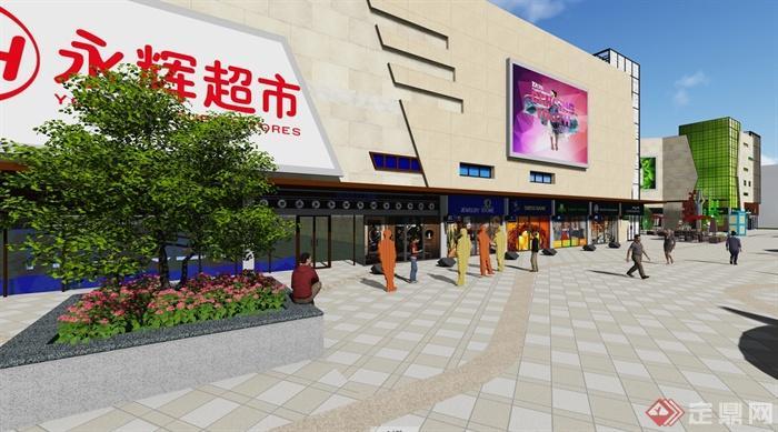 现代风格详细商业街详细设计su模型及效果图(2)