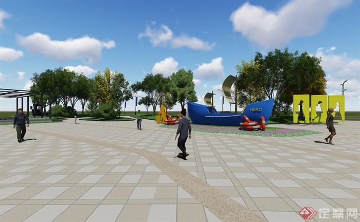 现代风格详细商业街详细设计su模型及效果图(3)