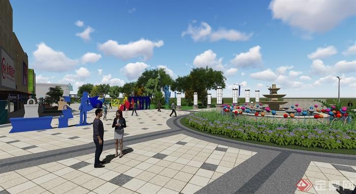现代风格详细商业街详细设计su模型及效果图(6)